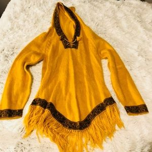 Yellow & Brown Hooded Blanket Poncho Tunic